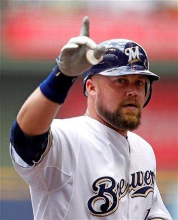Milwaukee Brewers' Casey McGehee reacts after hitting a two-run home run in the first inning of a baseball game against the St. Louis Cardinals, Wednesday, Aug. 3, 2011, in Milwaukee. (AP Photo/Jeffrey Phelps) By Jeffrey Phelps