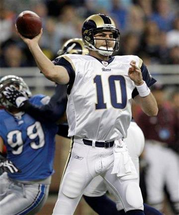 St. Louis Rams quarterback Marc Bulger throws against the Detroit Lions in the fourth quarter of an NFL football game in Detroit, Sunday, Nov. 1, 2009. St. Louis won 17-10. (AP Photo/Paul Sancya) By Paul Sancya