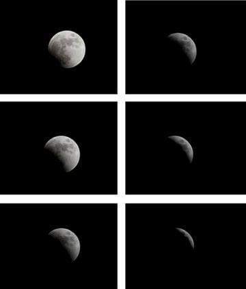 In this 6-picture combo the Earth casts its shadow over the moon (beginning top left)  in a Total Lunar Eclipse as seen Wednesday, June 15, 2011 in Tel Aviv, Israel. (AP Photo/Ariel Schalit) By Ariel Schalit