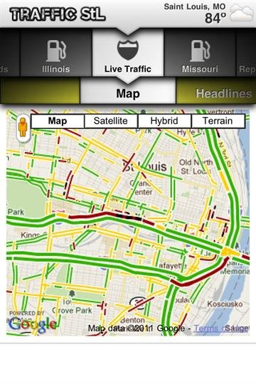 The view of the traffic jams from the live traffic map on the TrafficStL mobile app. By Bryce Moore
