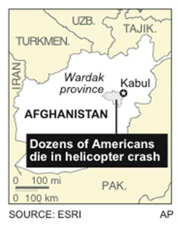 Map locates Wardak province where a military helicopter crashed, killing at least 30 Americans By J. Bell