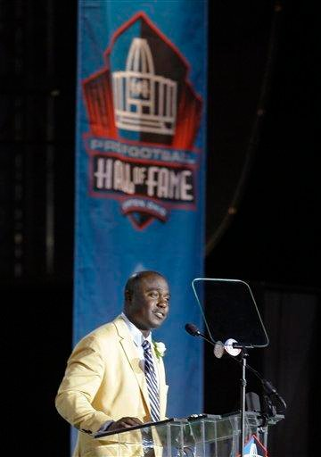 Marshall Faulk speaks during his induction at the Pro Football Hall of Fame on Saturday, Aug. 6, 2011, in Canton, Ohio. (AP Photo/Tony Dejak) By Tony Dejak