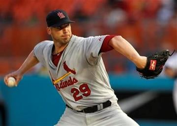 St. Louis Cardinals starting pitcher Chris Carpenter (29) throws in the second inning during a baseball game against the Florida Marlins in Miami, Saturday, Aug. 6, 2011. (AP Photo/Lynne Sladky) By Lynne Sladky