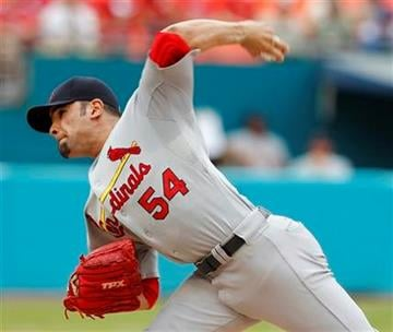 St. Louis Cardinals starting pitcher Jaime Garcia (54) throws in the first inning during a baseball game against the St. Louis Cardinals in Miami, Sunday, Aug. 7, 2011. (AP Photo/Lynne Sladky) By Lynne Sladky