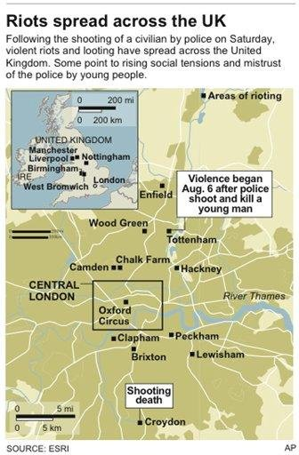 Map gives a roundup of riot areas in London By W. Castello