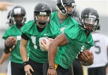 Missouri quarterback James Franklin participates in a drill during football practice Thursday, Aug. 4, 2011, in Columbia, Mo. (AP Photo/St. Louis Post-Dispatch, Chris Lee) By Chris Lee