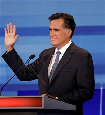 Republican presidential candidate former Massachusetts Gov. Mitt Romney gestures during the Iowa GOP/Fox News Debate at the CY Stephens Auditorium in Ames, Iowa, Thursday, Aug. 11, 2011. (AP Photo/Charlie Neibergall, Pool) By Charlie Neibergall