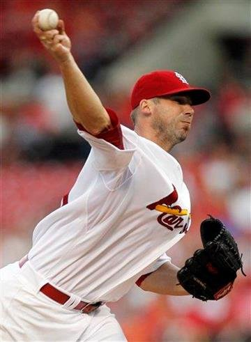 St. Louis Cardinals starting pitcher Chris Carpenter throws during the first inning of a baseball game against the Milwaukee Brewers Thursday, Aug. 11, 2011, in St. Louis. (AP Photo/Jeff Roberson) By Jeff Roberson