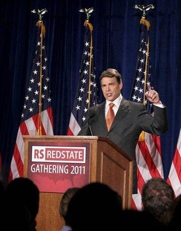 Texas Gov. Rick Perry announced his run for presidency during the conservative activists' Red State Gathering on Saturday, Aug. 13, 2011 in Charleston, S.C. (AP Photo/Alice Keeney) By Alice Keeney