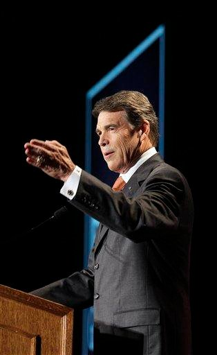 Texas Gov. Rick Perry speaks during the RedState Gathering, a meeting of conservative activists, where he announced his run for the presidency in 2012 in Charleston, S.C., Saturday, Aug. 13, 2011. (AP Photo/Gerry Broome) By Gerry Broome