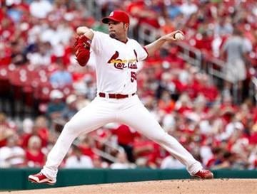 St. Louis Cardinals starting pitcher Jaime Garcia delivers to the Colorado Rockies during the first inning of a baseball game Saturday, Aug. 13, 2011, in St. Louis. (AP Photo/Sarah Conard) By Sarah Conard