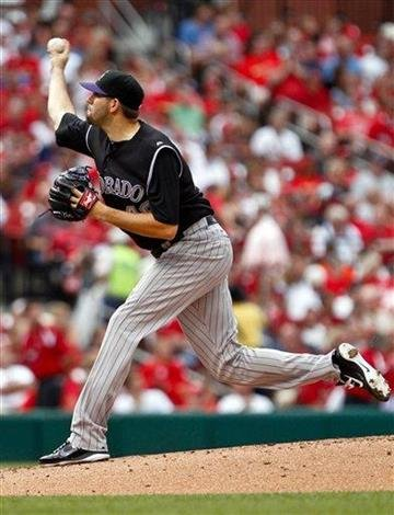 Colorado Rockies starting pitcher Jason Hammel delivers to the St. Louis Cardinals during the first inning of a baseball game Saturday, Aug. 13, 2011, in St. Louis. (AP Photo/Sarah Conard) By Sarah Conard
