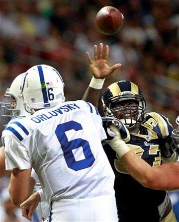 Indianapolis Colts quarterback Dan Orlovsky, left, throws as St. Louis Rams defensive tackle Darell Scott defends during the third quarter of an NFL preseason football game Saturday, Aug. 13, 2011, in St. Louis. (AP Photo/Seth Perlman) By Seth Perlman
