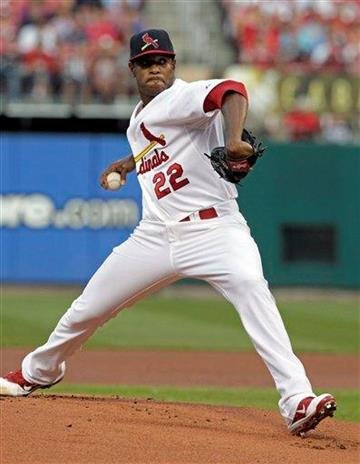 St. Louis Cardinals starting pitcher Edwin Jackson (22) pitches in the first inning of a baseball game against the Colorado Rockies, Sunday, Aug. 14, 2011, in St. Louis. (AP Photo/Tom Gannam) By Tom Gannam