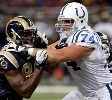 Indianapolis Colts offensive tackle Anthony Castonzo, right, blocks St. Louis Rams defensive end Robert Quinn during the third quarter of an NFL preseason football game Saturday, Aug. 13, 2011 in St. Louis. (AP Photo/Tom Gannam) By Tom Gannam