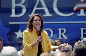 Republican presidential candidate, Rep. Michele Bachmann, R-Minn., speaks to supporters at the Beacon Drive-in, Tuesday, August 16, 2011, in Spartanburg, S.C. (AP Photo/ Richard Shiro) By Richard Shiro