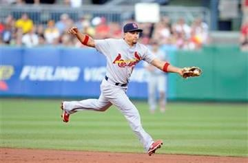 St. Louis Cardinals shortstop Rafael Furcal stops a ground ball from Pittsburgh Pirates' Ronny Cedeno (not pictured) during the second inning of a baseball game Tuesday, Aug. 16, 2011 in Pittsburgh.(AP Photo/Don Wright) By Don Wright