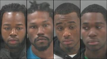 Tyrone Harris, 21, James Montgomery, 22, Adrion Bonner, 21, and Coreyon Blanks, 21, are all in custody after they allegedly went over to three friends' home to watch a sporting event, and then robbed them on Friday. By Brendan Marks