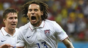 US midfielder Jermaine Jones celebrates after scoring during a Group G football match between USA and Portugal at the Amazonia Arena in Manaus during the 2014 FIFA World Cup on June 22, 2014. AFP PHOTO / ODD ANDERSEN By ODD ANDERSEN