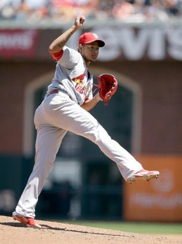 SAN FRANCISCO, CA - JULY 03:  Carlos Martinez #44 of the St. Louis Cardinals pitches against the San Francisco Giants at AT&T Park on July 3, 2014 in San Francisco, California.  (Photo by Ezra Shaw/Getty Images) By Ezra Shaw
