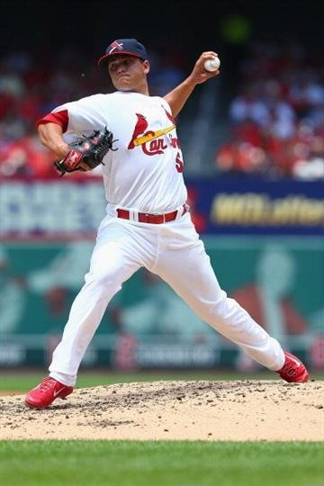 ST. LOUIS, MO - JULY 6: Starter Marco Gonzales #56 of the St. Louis Cardinals pitches against the Miami Marlins in the third inning at Busch Stadium on July 6, 2014 in St. Louis, Missouri.  (Photo by Dilip Vishwanat/Getty Images) By Dilip Vishwanat