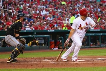 ST. LOUIS, MO - JULY 9: Matt Adams #32 of the St. Louis Cardinals hits a two-RBI double in the first inning against the Pittsburgh Pirates at Busch Stadium on July 9, 2014 in St. Louis, Missouri.  (Photo by Dilip Vishwanat/Getty Images) By Dilip Vishwanat