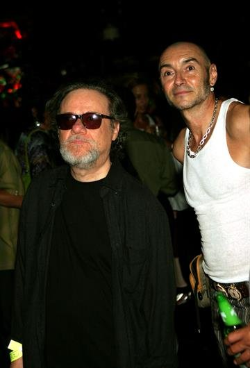 "NEW YORK - AUGUST 19:  Tommy Ramone (L), and Arturo Vega, attend the After Party for the premiere of ""End Of The Century: The Story Of The Ramones""at CBGB, on August 19, 2004 in New York City.  (Photo by Katy Winn/Getty Images) By Katy Winn"