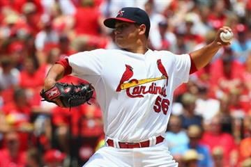 ST. LOUIS, MO - JULY 6: Starter Marco Gonzales #56 of the St. Louis Cardinals pitches against the Miami Marlins in the first inning at Busch Stadium on July 6, 2014 in St. Louis, Missouri.  (Photo by Dilip Vishwanat/Getty Images) By Dilip Vishwanat