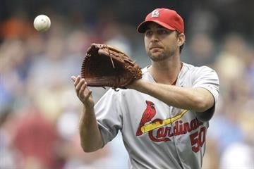 MILWAUKEE, WI - JULY 12: Adam Wainwright #50 of the St. Louis Cardinals pitches during the first inning against the Milwaukee Brewers at Miller Park on July 12, 2014 in Milwaukee, Wisconsin. (Photo by Mike McGinnis/Getty Images) By Mike McGinnis