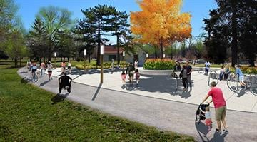 """Gathering """"plazas"""" including bike racks and better connections to the bike paths are all new features to come in the restroom areas in the upcoming years. By Stephanie Baumer"""
