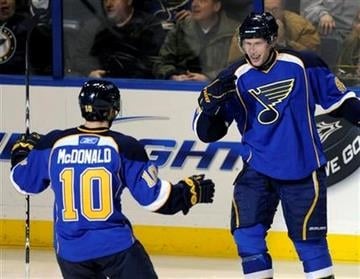 St. Louis Blues' David Backes, right, celebrates his goal with teammate Andy McDonald (10) in the third period of an NHL hockey game against the Minnesota Wild, Friday, Feb. 11, 2011, in St. Louis. (AP Photo/Bill Boyce) By Bill Boyce