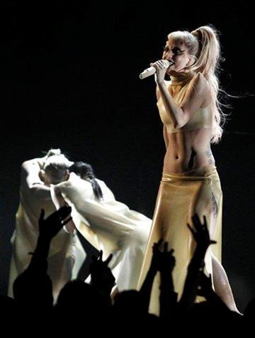 Lady Gaga performs at the 53rd annual Grammy Awards on Sunday, Feb. 13, 2011, in Los Angeles. (AP Photo/Matt Sayles) By Matt Sayles