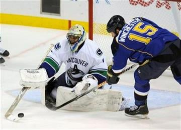 Vancouver Canucks' goalie Roberto Luongo, left, blocks a shot by St. Louis Blues' Brad Winchester (15) in the second period of an NHL hockey game Monday, Feb. 14, 2011, in St. Louis. (AP Photo/Bill Boyce) By Bill Boyce