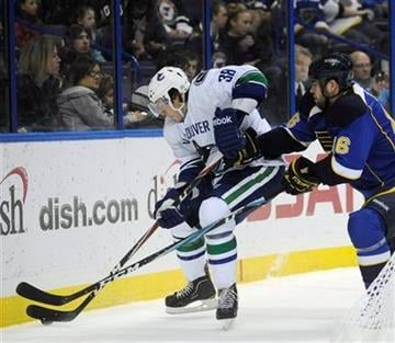 Vancouver Canucks' Victor Oreskovich (38) and St Louis Blues' Roman Polak (46), of Czech Republic, battle for the puck in the first period of an NHL hockey game Monday, Feb. 14, 2011, in St. Louis. (AP Photo/Bill Boyce) By Bill Boyce