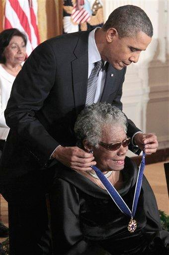 President Barack Obama presents a Medal of Freedom to author and poet Maya Angelou during a ceremony in the East Room of the White House in Washington, Tuesday, Feb. 15, 2011. (AP Photo/Pablo Martinez Monsivais) By Pablo Martinez Monsivais