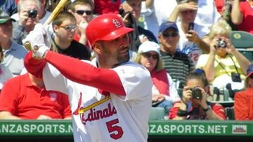 Cardinals first baseman Albert Pujols at-bat in the first inning of Thursday's Braves-Cardinals game By Lakisha Jackson