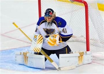 St. Louis Blues' goalie Jaroslav Halak (41) blocks a shot during the second period against the Florida Panthers in an NHL hockey game in Sunrise, Fla. Tuesday, Feb. 8, 2011. (AP Photo/Steve Mitchell) By Steve Mitchell