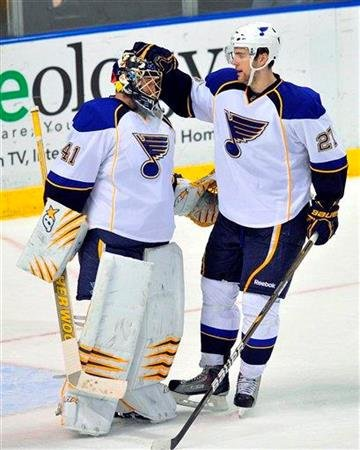 St. Louis Blues goalie Jaroslav Halak, celebrates with Patrik Berglund after the Blues' 2-1 win over the Florida Panthers in an NHL hockey game in Sunrise, Fla., Tuesday, Feb. 8, 2011. (AP Photo/Steve Mitchell) By Steve Mitchell