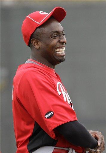 Cincinnati Reds starting pitcher Dontrelle Willis laughs during baseball spring training Friday, Feb. 18, 2011, in Goodyear, Ariz. (AP Photo/Mark Duncan) By Mark Duncan