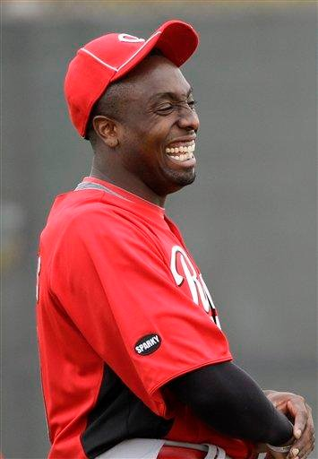 Cincinnati Reds starting pitcher Dontrelle Willis laughs during baseball spring training Friday, Feb. 18, 2011, in Goodyear, Ariz. (AP Photo/Mark Duncan) By Mark Duncan