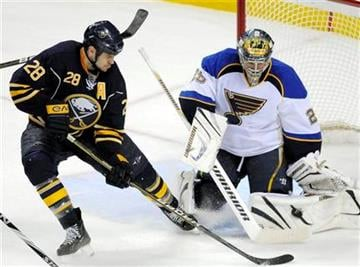 St. Louis Blues goalie Ty Conklin, right, makes a save on Buffalo Sabres center Paul Gaustad during the third period of an NHL hockey game in Buffalo, N.Y., on Friday, Feb. 18, 2011. St. Louis won 3-0. (AP Photo/ Don Heupel) By Don Heupel