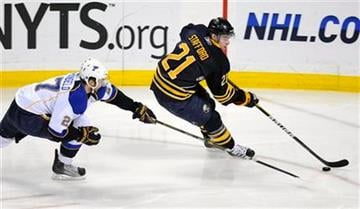 Buffalo Sabres winger Drew Stafford, right, stick-handles the puck past St. Louis Blues defenseman Alex Pietrangelo during the first period of an NHL hockey game in Buffalo, N.Y. on Friday, Feb. 18, 2011. (AP Photo/ Don Heupel) By Don Heupel