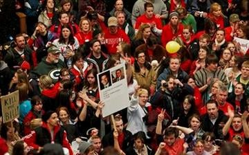 Opponents to the governor's bill to eliminate collective bargaining rights for many state workers protest in the rotunda of the State Capitol in Madison, Wis., Friday, Feb. 18, 2011. (AP Photo/Andy Manis) By Andy Manis