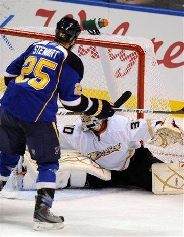 St. Louis Blues' Chris Stewart (25) watches his goal against Anaheim Ducks' Timo Pielmeier (30), of Germany, in the second period of an NHL hockey game Saturday, Feb. 19, 2011, in St. Louis. (AP Photo/Bill Boyce) By Bill Boyce