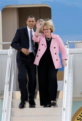 President Barack Obama disembarks Air Force One with Sen. Claire McCaskill, D-Mo., Wednesday, March 10, 2010, in St. Louis. Obama is in town to make a speech on health care and then appear at a fundraiser for McCaskill.(AP Photo/Tom Gannam) By Tom Gannam