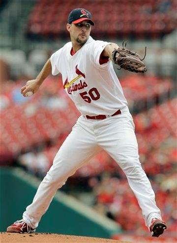 St. Louis Cardinals starting pitcher Adam Wainwright throws during the first inning of a baseball game against the San Diego Padres on Sunday, Sept. 19, 2010, in St. Louis. (AP Photo/Jeff Roberson) By Jeff Roberson