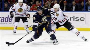 St. Louis Blues' T.J. Oshie (74) shoots the puck while being closely defended by Chicago Blackhawks' Jonathan Toews (19) in the second period of an NHL hockey game, Monday, Feb. 21, 2011, in St. Louis.(AP Photo/Tom Gannam) By Tom Gannam