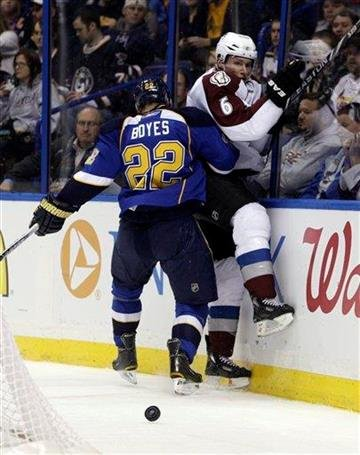 St. Louis Blues' Brad Boyes (22) knocks Colorado Avalanche's Eric Johnson (6) off of the puck in the second period of an NHL hockey game, Tuesday, Feb. 22, 2011, in St. Louis. (AP Photo/Tom Gannam) By Tom Gannam