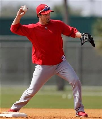 St. Louis Cardinals shortstop Ryan Theriot practices turning a double play during baseball spring training on Sunday, Feb. 20, 2011, in Jupiter, Fla. (AP Photo/Jeff Roberson) By Jeff Roberson