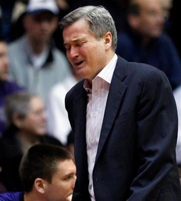 Northwestern coach Bill Carmody reacts as he watches his team play against Penn State during the second half of an NCAA college men's basketball game in Evanston, Ill., Thursday, Feb. 24, 2011. Penn State won 66-52. (AP Photo/Nam Y. Huh) By Nam Y. Huh